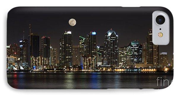 Moonrise Over San Diego IPhone Case by Sandra Bronstein