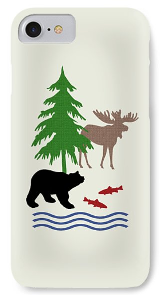 Moose And Bear Pattern Art IPhone Case by Christina Rollo
