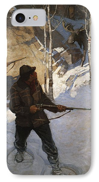 Moose Hunting IPhone Case by Newell Convers Wyeth
