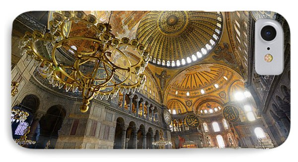 Morning Light In An Empty Hagia Sophia With Chandeliers And Gold IPhone Case by Reimar Gaertner
