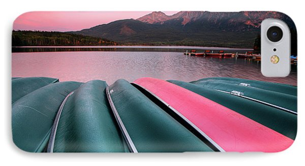 Morning View Of Pyramid Lake In Jasper National Park Phone Case by Mark Duffy