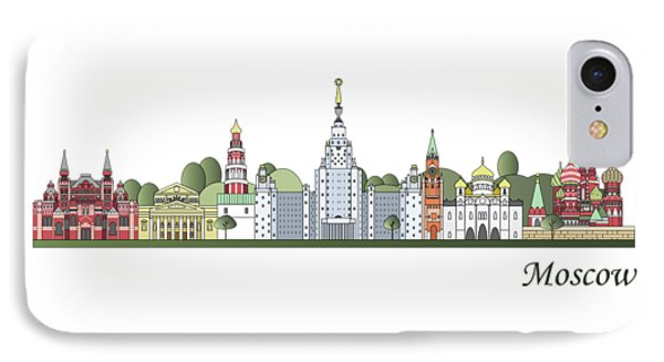 Moscow Skyline Colored IPhone 7 Case by Pablo Romero