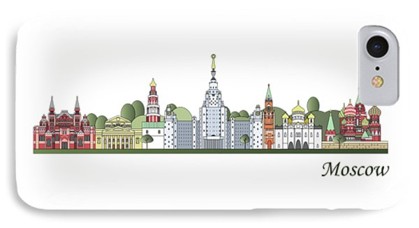 Moscow Skyline Colored IPhone Case by Pablo Romero