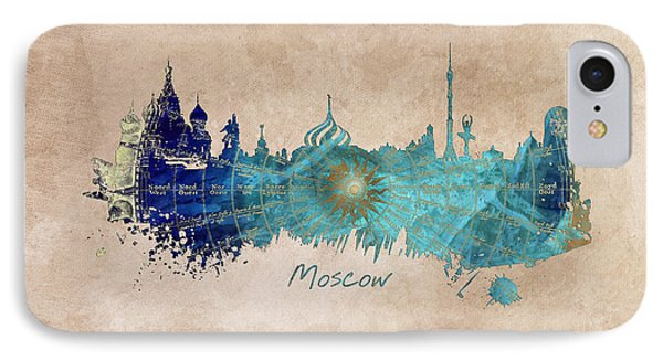 Moscow Skyline Wind Rose IPhone Case by Justyna JBJart