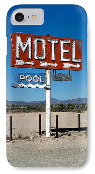 Motel Sign On I-40 And Old Route 66 Phone Case by Scott Sawyer