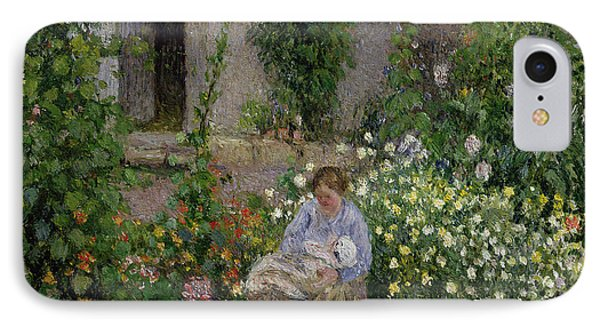 Mother And Child In The Flowers IPhone Case by Camille Pissarro