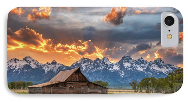 Moulton Barn Sunset Fire IPhone Case by Darren White