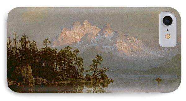 Mountain Canoeing IPhone Case by Albert Bierstadt