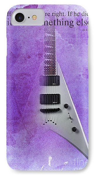Dr House Inspirational Quote And Electric Guitar Purple Vintage Poster For Musicians And Trekkers IPhone Case by Pablo Franchi