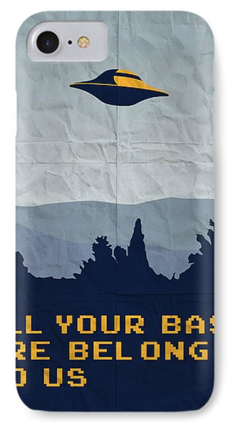 My All Your Base Are Belong To Us Meets X-files I Want To Believe Poster  IPhone Case by Chungkong Art