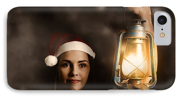 Mystery Woman On A Find And Seek Christmas Journey IPhone Case by Jorgo Photography - Wall Art Gallery