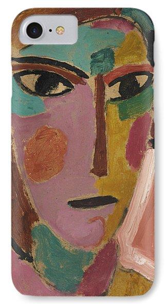 Mystical Women's Head On Red Ground IPhone Case by Alexej von Jawlensky