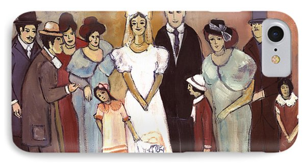 Naive Wedding Large Family White Bride Black Groom Red Women Girls Brown Men With Hats And Flowers Phone Case by Rachel Hershkovitz