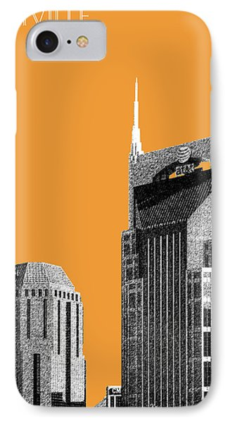 Nashville Skyline At And T Batman Building - Orange IPhone 7 Case by DB Artist