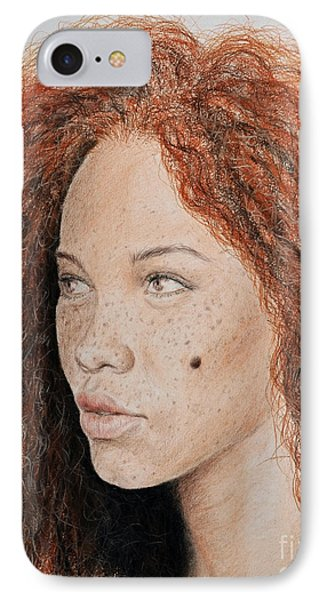 Natural Beauty With Red Hair  IPhone Case by Jim Fitzpatrick