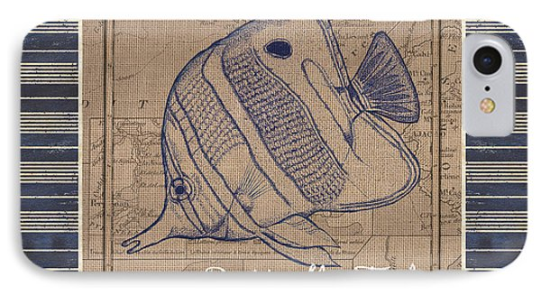 Nautical Stripes Butterfly Fish IPhone Case by Debbie DeWitt