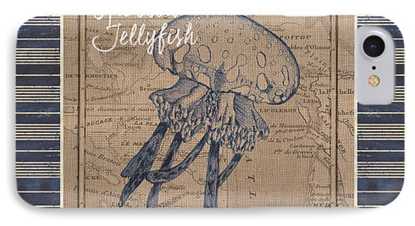Nautical Stripes Jellyfish IPhone Case by Debbie DeWitt