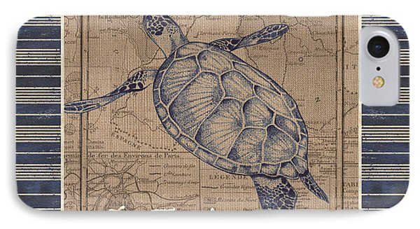 Nautical Stripes Sea Turtle IPhone Case by Debbie DeWitt