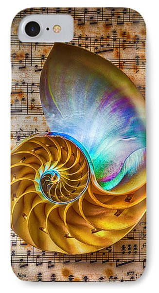 Nautilus Shell On Sheet Music IPhone Case by Garry Gay