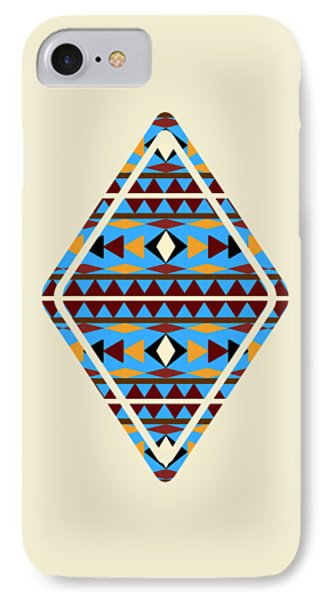 Navajo Blue Pattern Aged IPhone Case by Christina Rollo