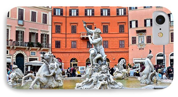 Navona Piazza Fountain IPhone Case by Frozen in Time Fine Art Photography