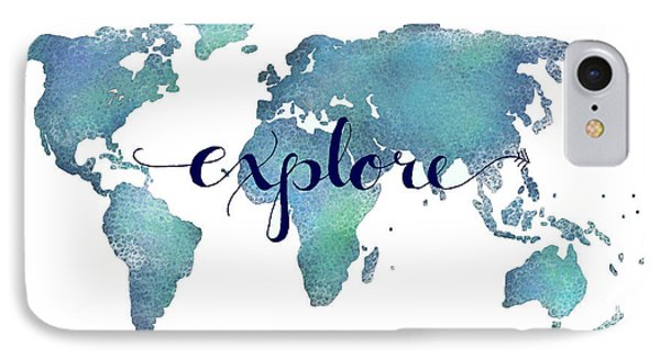 Navy And Teal Explore World Map IPhone Case by Michelle Eshleman