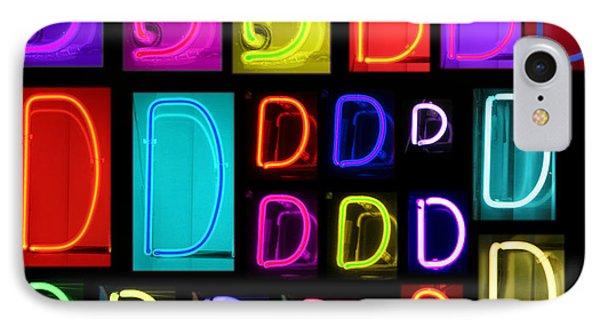 Neon Alphabet Series Letter D Phone Case by Michael Ledray