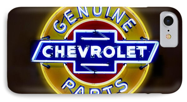 Neon Genuine Chevrolet Parts Sign Phone Case by Mike McGlothlen