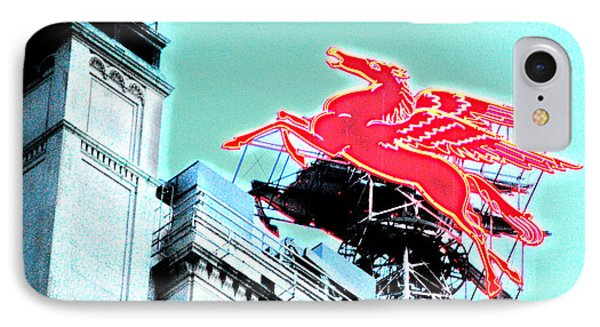 Neon Pegasus Atop Magnolia Building In Dallas Texas IPhone Case by Shawn O'Brien