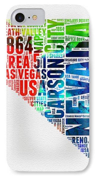 Nevada Watercolor Word Cloud  IPhone Case by Naxart Studio