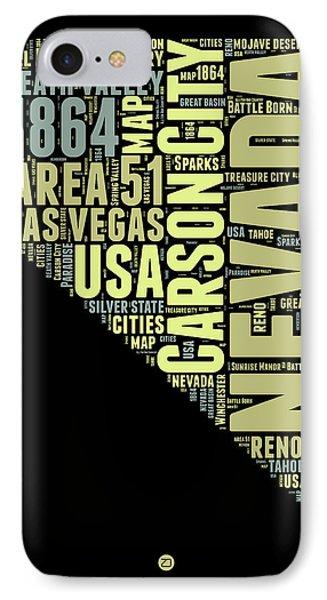 Nevada Word Cloud 1 IPhone Case by Naxart Studio