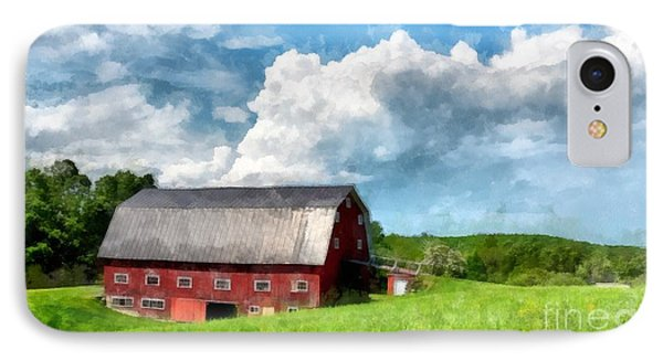 New England Farm Landscape Watercolor IPhone Case by Edward Fielding