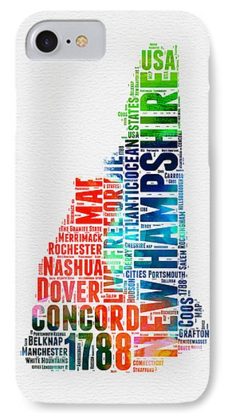 New Hampshire Watercolor Word Map IPhone Case by Naxart Studio