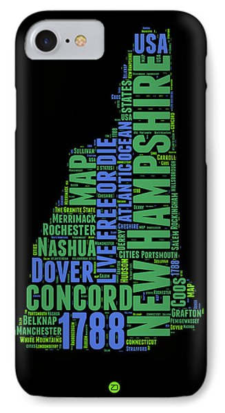 New Hampshire Word Cloud Map 1 IPhone Case by Naxart Studio
