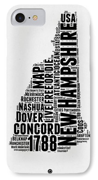 New Hampshire Word Cloud Map 2 IPhone Case by Naxart Studio