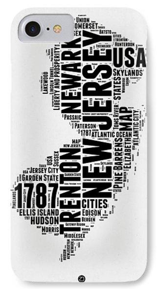 New Jersey Word Cloud 2 IPhone Case by Naxart Studio