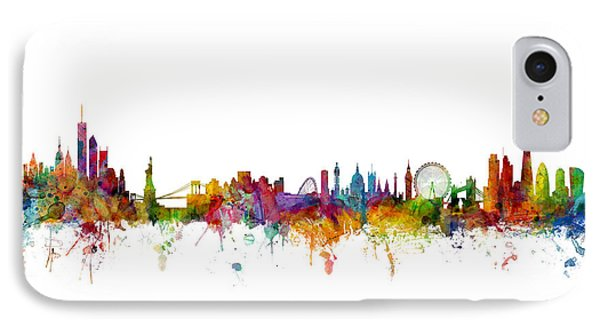 New York And London Skyline Mashup IPhone Case by Michael Tompsett