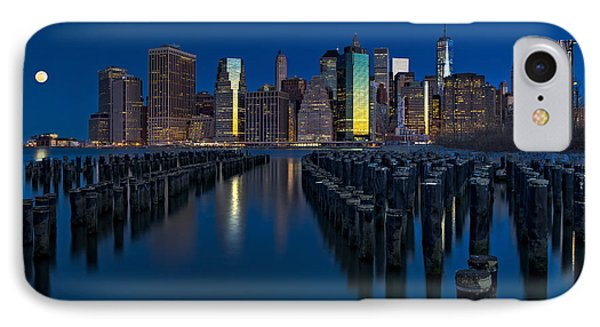 New York City Moonset IPhone Case by Susan Candelario