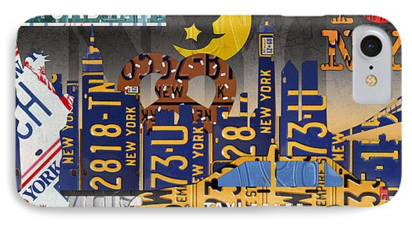 New York City Nyc The Big Apple License Plate Art Collage No 2 IPhone Case by Design Turnpike