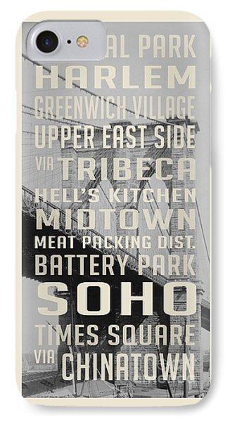 New York City Subway Stops Vintage Brooklyn Bridge IPhone Case by Edward Fielding