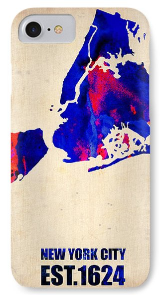 New York City Watercolor Map 1 IPhone 7 Case by Naxart Studio