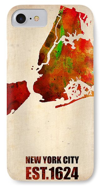 New York City Watercolor Map 2 IPhone 7 Case by Naxart Studio