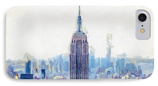 New York Skyline Art- Mixed Media Painting IPhone 7 Case by Wall Art Prints
