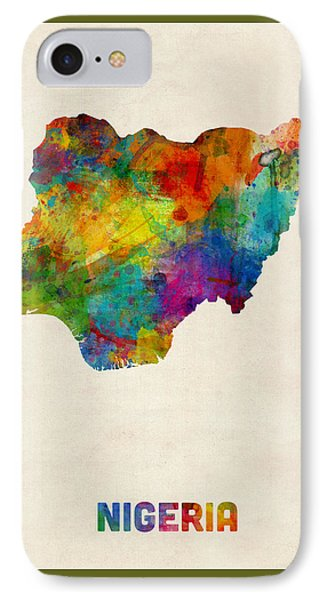 Nigeria Watercolor Map IPhone Case by Michael Tompsett