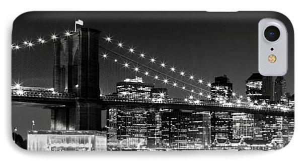 Night Skyline Manhattan Brooklyn Bridge Bw IPhone Case by Melanie Viola