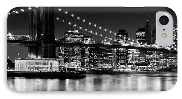 Night Skyline Manhattan Brooklyn Bridge IPhone Case by Melanie Viola