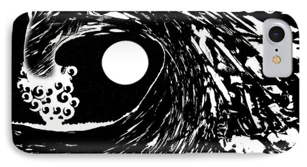 Night Wave Full Moon Starry Sky IPhone Case by Expressionistart studio Priscilla Batzell