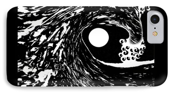 Night Wave With Full Moon And Stars IPhone Case by Expressionistart studio Priscilla Batzell