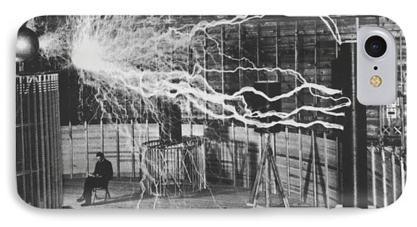 Nikola Tesla Sitting In His Experimental Station Reimagined 1 IPhone Case by Tony Rubino