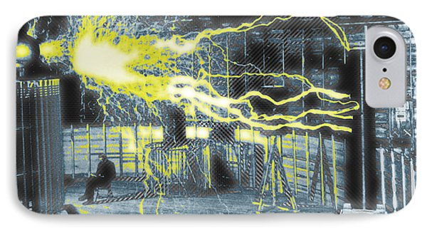 Nikola Tesla Sitting In His Experimental Station Reimagined 2 IPhone Case by Tony Rubino